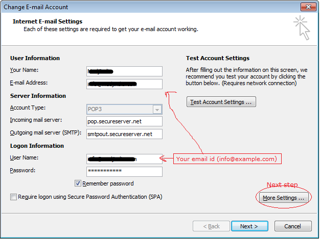 How to setup godaddy email on outlook 2007