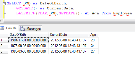 Calculate age from SQL Server