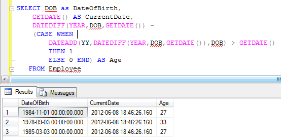 Find the age using SQL Server